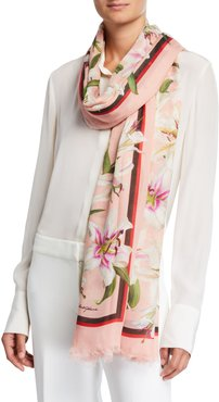 Lily Print Modal-Cashmere Scarf
