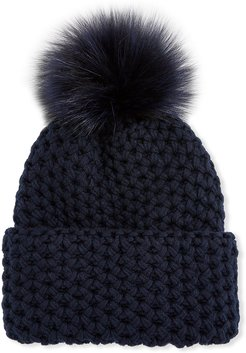 Honeycomb Cashmere Rolled Beanie Hat w/ Fox Fur Pompom