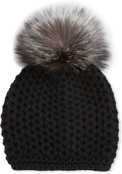 Honeycomb Cashmere Beanie Hat w/ Fox Fur Pompom
