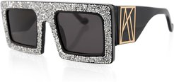 Mother Beep Crystal Front Square Sunglasses