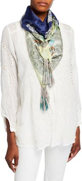 Lace Floral Silk Scarf