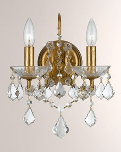 Crystorama Filmore Two-Light Elements Crystal Gold Sconce