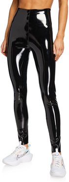 Classic Patent Faux-Leather Firming Leggings