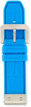 24mm Embossed Rubber Watch Strap, Blue