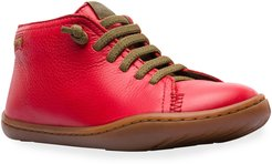 Lace-Up Mid-Top Leather Boots, Toddler/Kids