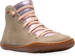High-Top Mixed Leather & Suede Boots, Toddler/Kids