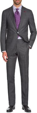Graph Windowpane Two-Piece Wool Suit