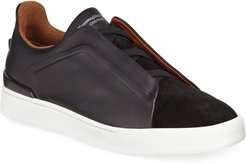 Triple-Stitch Leather/Suede Low-Top Sneakers
