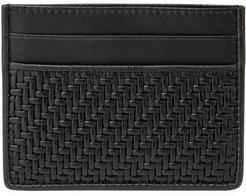 Pelle Tessuta Woven Leather Card Case, Black