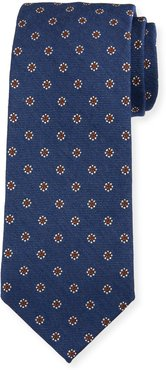 Floral Silk-Wool Tie, Blue