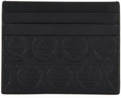 Gancini-Print Leather Card Case