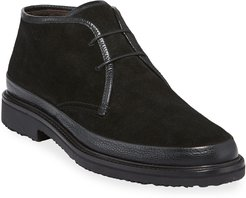 Trivero Suede Chukka Boots with Mud Guard, Black