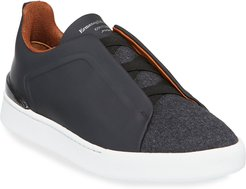 Triple-Stitch Leather & Wool Sneakers