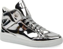 Metallic Leather High-Top Sneakers