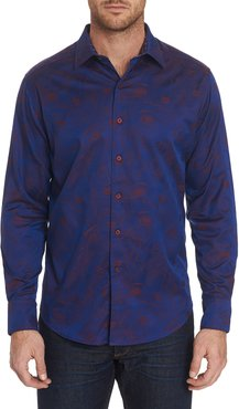 Frenchie Patterned Sport Shirt with Contrast Detail