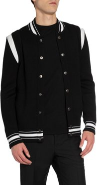 Knitted Snap-Front Bomber Jacket