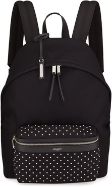 Micro-Stud Canvas Backpack w/ Leather Trim