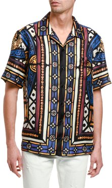 English Stained Glass Silk Sport Shirt