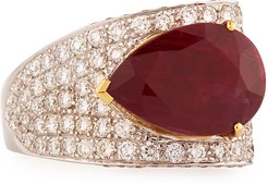 Pear-Shaped Ruby Ring with Diamonds, Size 7