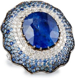 18K White Gold Round Blue Sapphire Ring with Diamonds, Size 7.25