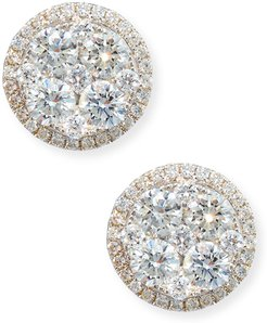 18K White Gold Round Diamond Cluster Earrings