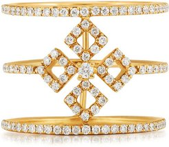 Three-Row Diamond Illusion Ring in 18K Yellow Gold, Size 7