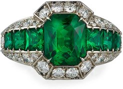 Platinum Emerald & Diamond-Trim Ring