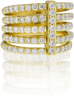 Moderne 18k Five-Row Diamond Ring, Size 6.5