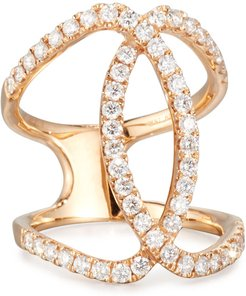 18K Rose Gold Overlapping Ring with Diamonds, Size 5.5