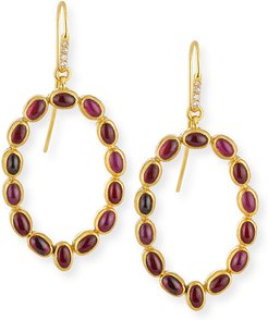 Amulet Hue Ruby Cabochon Drop Earrings with Diamonds