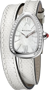 Serpent Twist Mother-of-Pearl Snakeskin Wrap Watch with Diamonds