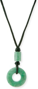 Open Green Jade Circle Pendant Necklace on Cord