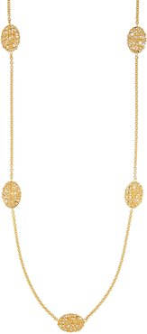 """Oval Mesh Station Necklace in 18K Gold, 30"""""""