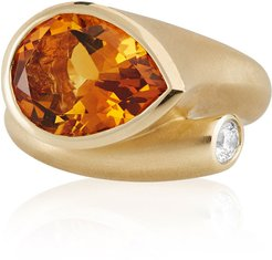 Whirl 18k Gold Orange Citrine & Diamond Ring