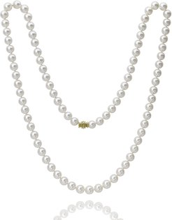 """32"""" Akoya Cultured 8mm Pearl Necklace with Yellow Gold Clasp"""