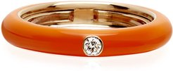 Never Ending 18k Pink Gold Diamond & Orange Ring, Size 6-8