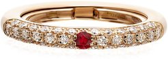 Never Ending 18k Pink Gold Diamond & Ruby Ring, Size 6-8