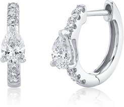18k White Gold Pear-Cur Diamond Huggie Earrings