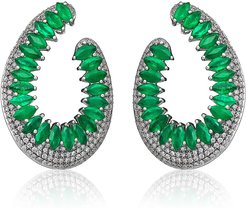 Mirage 18k White Gold Front-Facing Emerald & Diamond Earrings