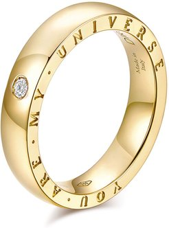 """Dirce """"You Are My Universe"""" 18k Yellow Gold 4.3mm Band Ring w/ Diamond, Size 6.25"""