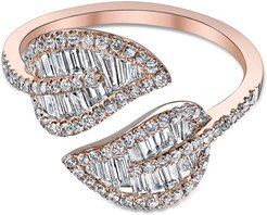 18k Rose Gold & Diamond Leaf Ring, Size 5