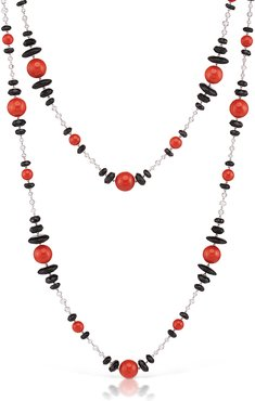 Extra-Long Sardinian Coral, Onyx, Diamond Briolette Chain Necklace