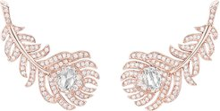 18k Rose Gold Diamond Feather Earrings