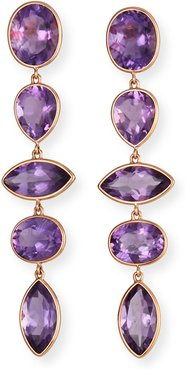 18k Pink Gold Amethyst Linear Earrings