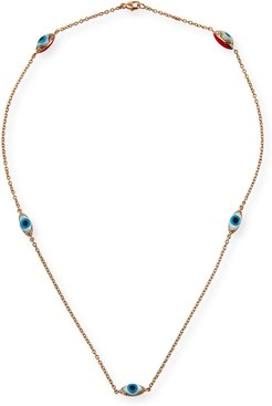 18k Rose Gold Evil Eye 5-Station Necklace