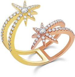 18k Yellow Gold Diamond Shooting Starburst Ring