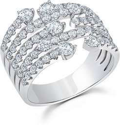 Medium Cage Diamond Ring in 18k White Gold