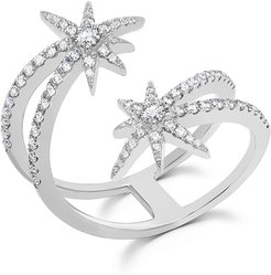 18k White Gold Diamond Shooting Starburst Ring
