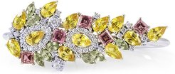 Alisa 18k Diamond, Sapphire and Tourmaline 2-Finger Ring