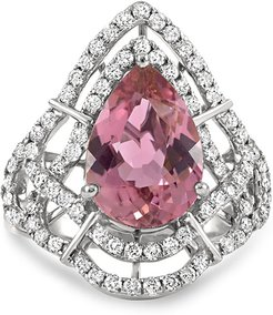Claire 18k White Gold Pink Tourmaline Pear Ring, Size 6.5